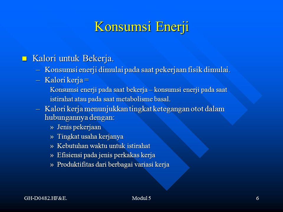 GH-D0482.HF&E.Modul 56 Konsumsi Enerji Kalori untuk Bekerja. Kalori untuk Bekerja. –Konsumsi enerji dimulai pada saat pekerjaan fisik dimulai. –Kalori