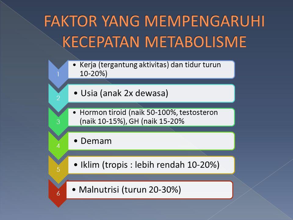 1 Kerja (tergantung aktivitas) dan tidur turun 10-20%) 2 Usia (anak 2x dewasa) 3 Hormon tiroid (naik 50-100%, testosteron (naik 10-15%), GH (naik 15-2