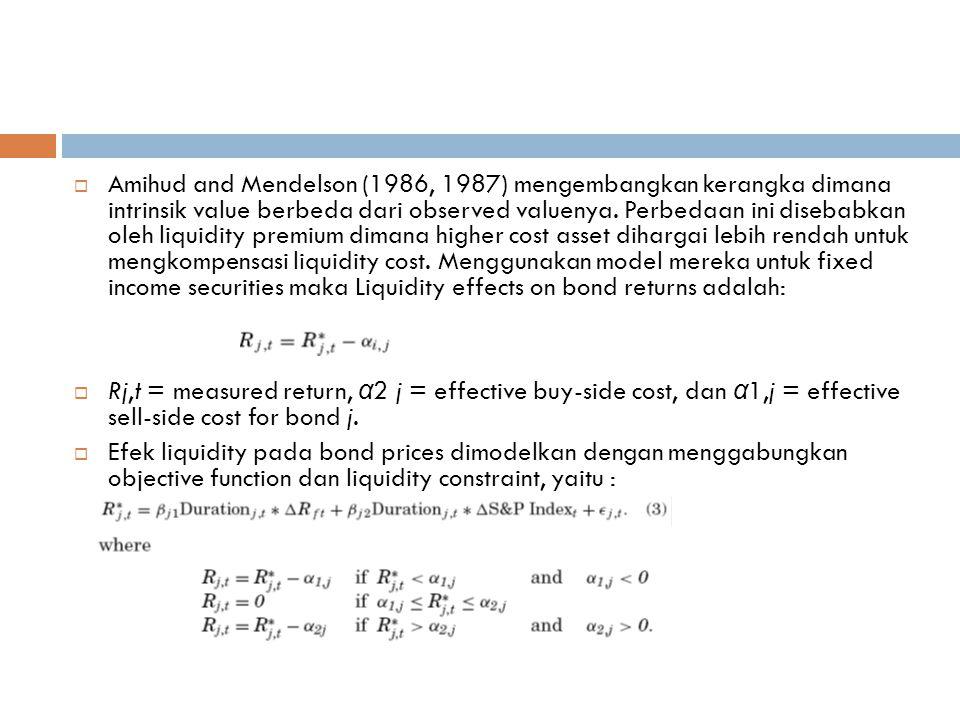  Amihud and Mendelson (1986, 1987) mengembangkan kerangka dimana intrinsik value berbeda dari observed valuenya.