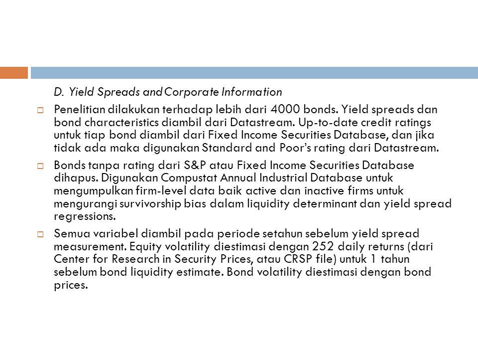 D. Yield Spreads and Corporate Information  Penelitian dilakukan terhadap lebih dari 4000 bonds.