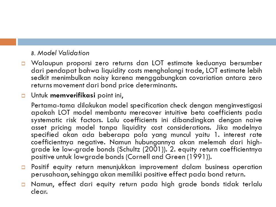 B. Model Validation  Walaupun proporsi zero returns dan LOT estimate keduanya bersumber dari pendapat bahwa liquidity costs menghalangi trade, LOT es