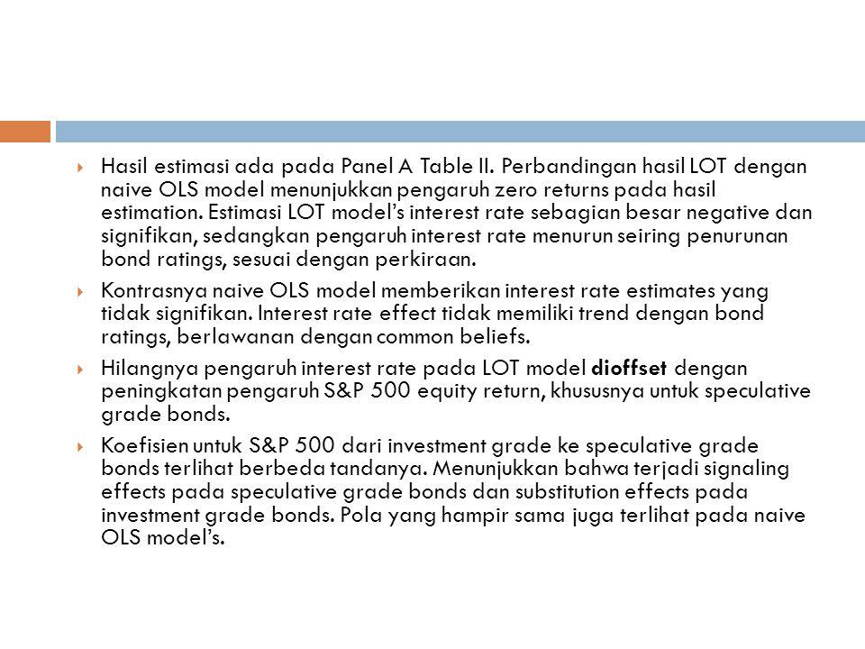  Hasil estimasi ada pada Panel A Table II.