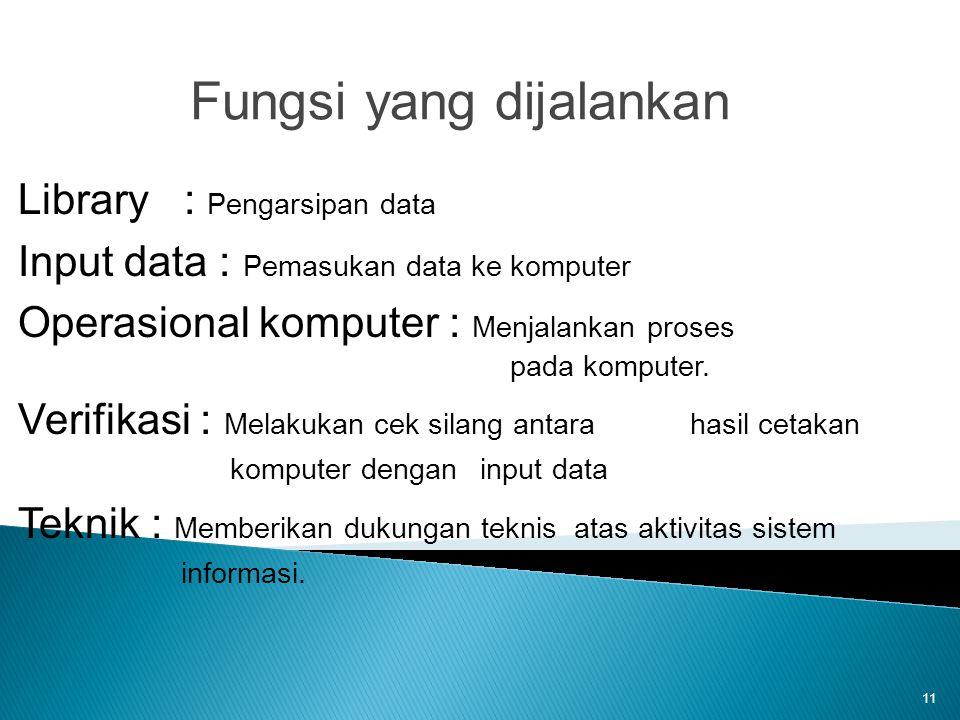 11 Fungsi yang dijalankan Library : Pengarsipan data Input data : Pemasukan data ke komputer Operasional komputer : Menjalankan proses pada komputer.