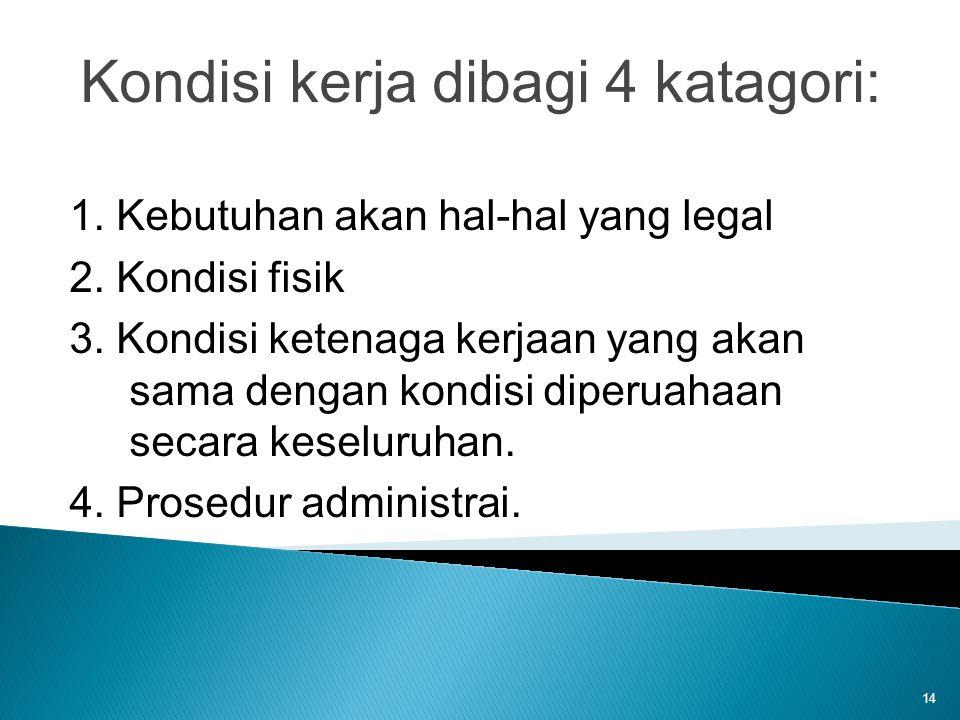 14 Kondisi kerja dibagi 4 katagori: 1. Kebutuhan akan hal-hal yang legal 2. Kondisi fisik 3. Kondisi ketenaga kerjaan yang akan sama dengan kondisi di