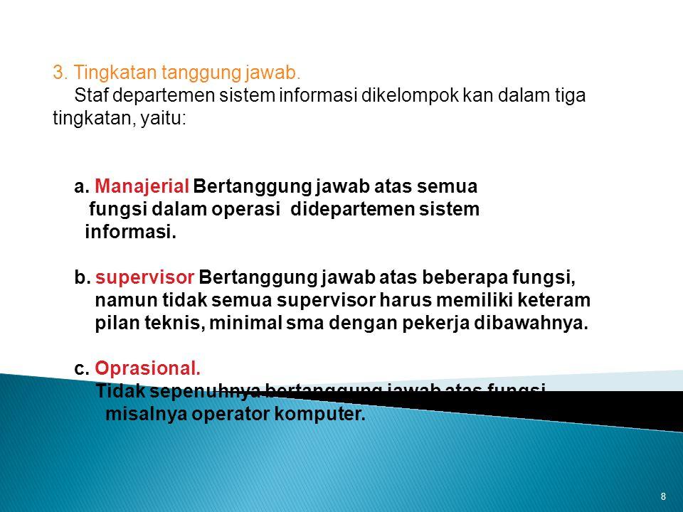 8 3. Tingkatan tanggung jawab. Staf departemen sistem informasi dikelompok kan dalam tiga tingkatan, yaitu: a. Manajerial Bertanggung jawab atas semua