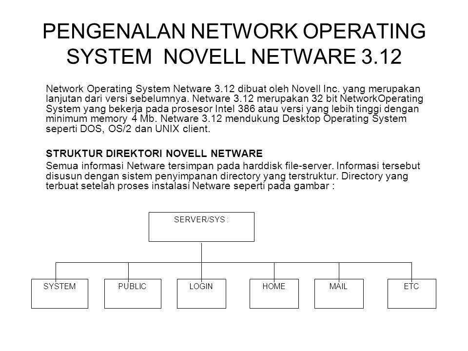 PENGENALAN NETWORK OPERATING SYSTEM NOVELL NETWARE 3.12 Network Operating System Netware 3.12 dibuat oleh Novell Inc. yang merupakan lanjutan dari ver