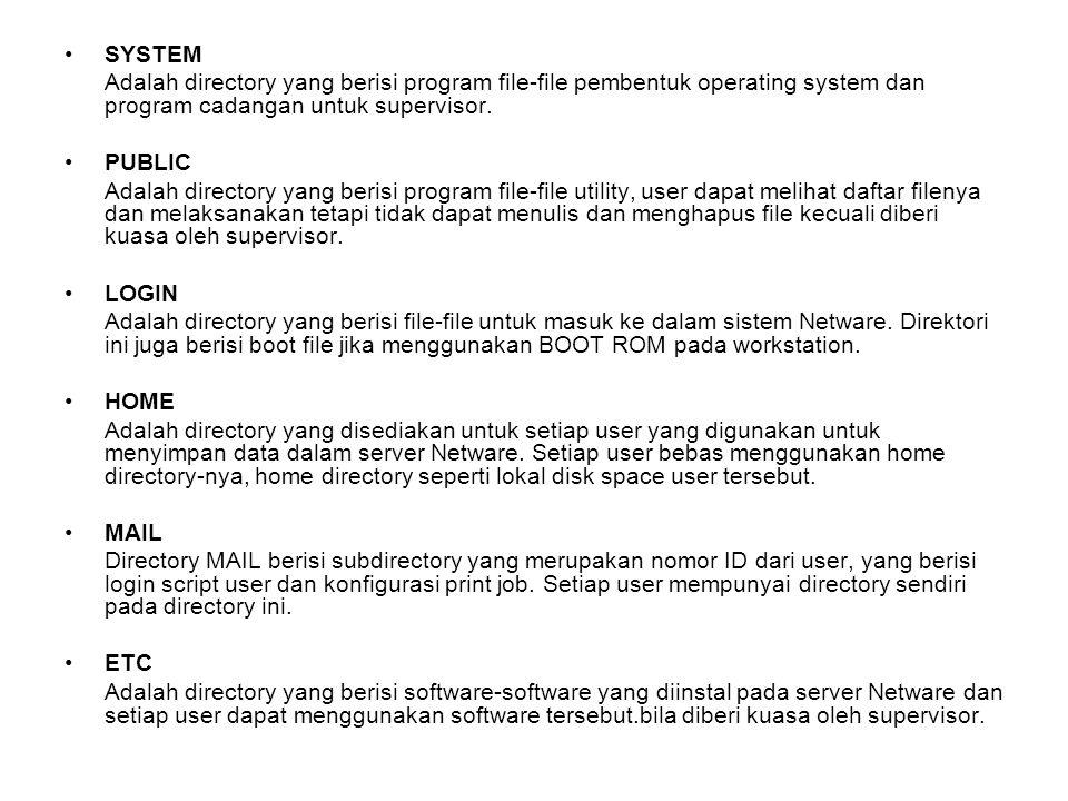 SYSTEM Adalah directory yang berisi program file-file pembentuk operating system dan program cadangan untuk supervisor. PUBLIC Adalah directory yang b
