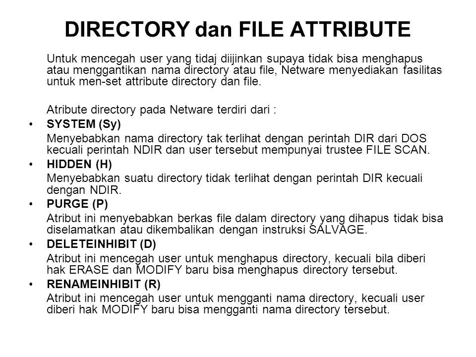 Atribute file pada Netware terdiri dari : SYSTEM (Sy) Atribut ini identik dengan HIDDEN file tetapi digunakan pada system file yang berada pada directory SYS:=/SYSTEM.