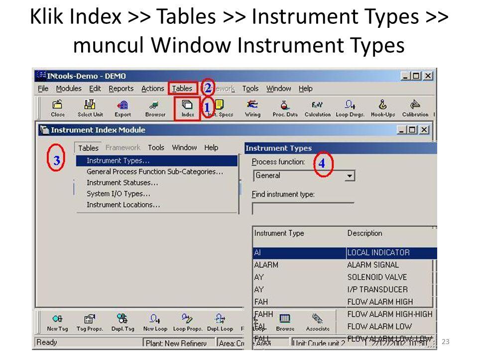 23 Klik Index >> Tables >> Instrument Types >> muncul Window Instrument Types 23