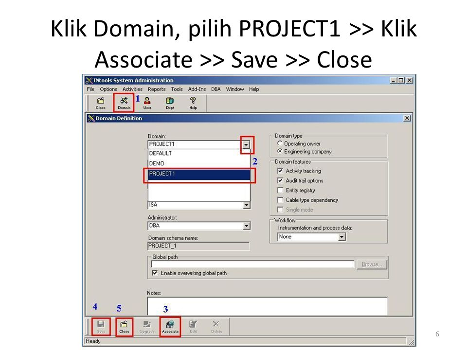 7 Klik Department >> New >> Ketik PROJECT1 >> Apply >> Close 7