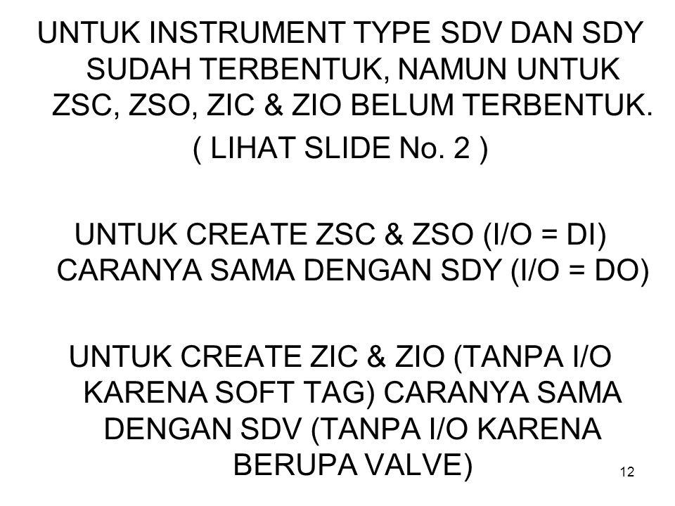 12 UNTUK INSTRUMENT TYPE SDV DAN SDY SUDAH TERBENTUK, NAMUN UNTUK ZSC, ZSO, ZIC & ZIO BELUM TERBENTUK.