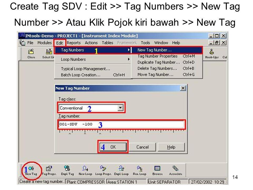 14 Create Tag SDV : Edit >> Tag Numbers >> New Tag Number >> Atau Klik Pojok kiri bawah >> New Tag
