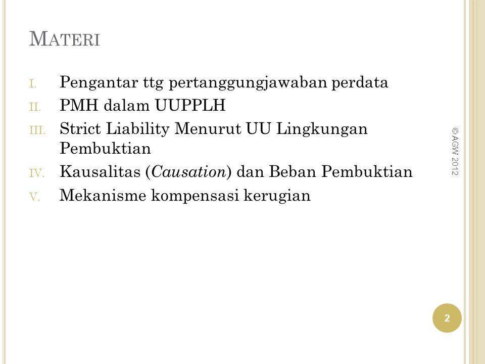 M ATERI I. Pengantar ttg pertanggungjawaban perdata II. PMH dalam UUPPLH III. Strict Liability Menurut UU Lingkungan Pembuktian IV. Kausalitas ( Causa