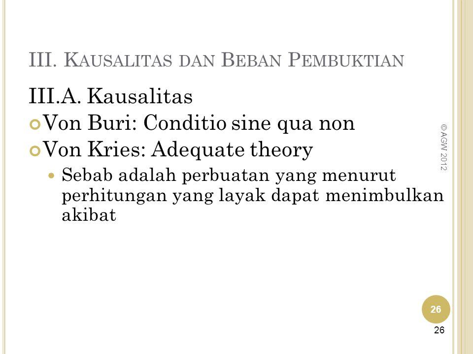 III. K AUSALITAS DAN B EBAN P EMBUKTIAN III.A. Kausalitas Von Buri: Conditio sine qua non Von Kries: Adequate theory Sebab adalah perbuatan yang menur