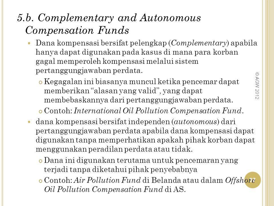5.b. Complementary and Autonomous Compensation Funds Dana kompensasi bersifat pelengkap ( Complementary ) apabila hanya dapat digunakan pada kasus di