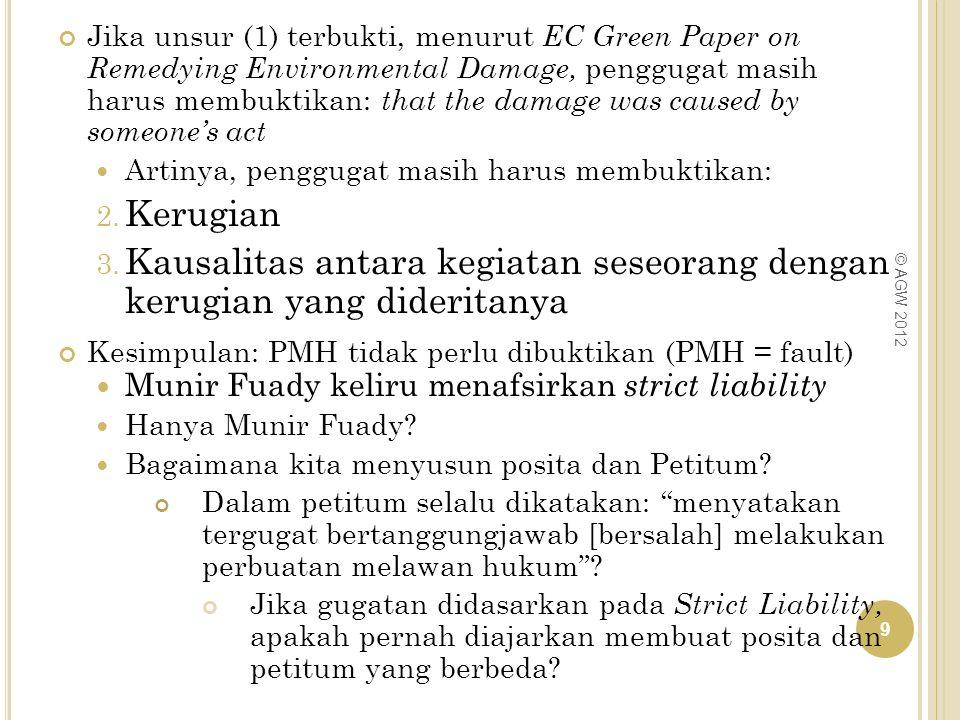 Jika unsur (1) terbukti, menurut EC Green Paper on Remedying Environmental Damage, penggugat masih harus membuktikan: that the damage was caused by so