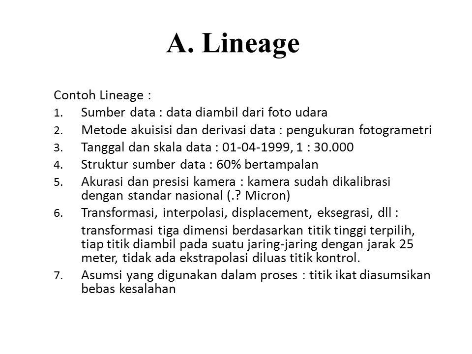 A. Lineage Contoh Lineage : 1. Sumber data : data diambil dari foto udara 2. Metode akuisisi dan derivasi data : pengukuran fotogrametri 3. Tanggal da