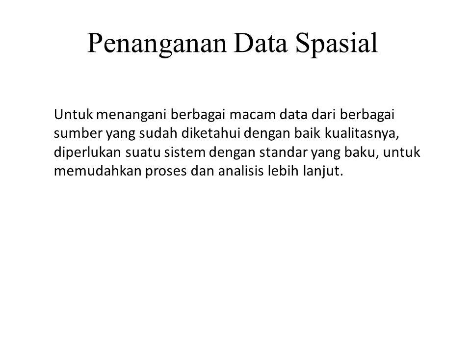 Penanganan Data Spasial Untuk menangani berbagai macam data dari berbagai sumber yang sudah diketahui dengan baik kualitasnya, diperlukan suatu sistem dengan standar yang baku, untuk memudahkan proses dan analisis lebih lanjut.
