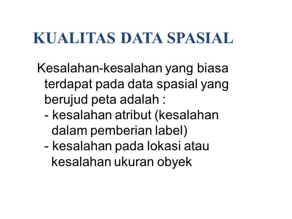 KUALITAS DATA SPASIAL Kesalahan-kesalahan yang biasa terdapat pada data spasial yang berujud peta adalah : - kesalahan atribut (kesalahan dalam pember