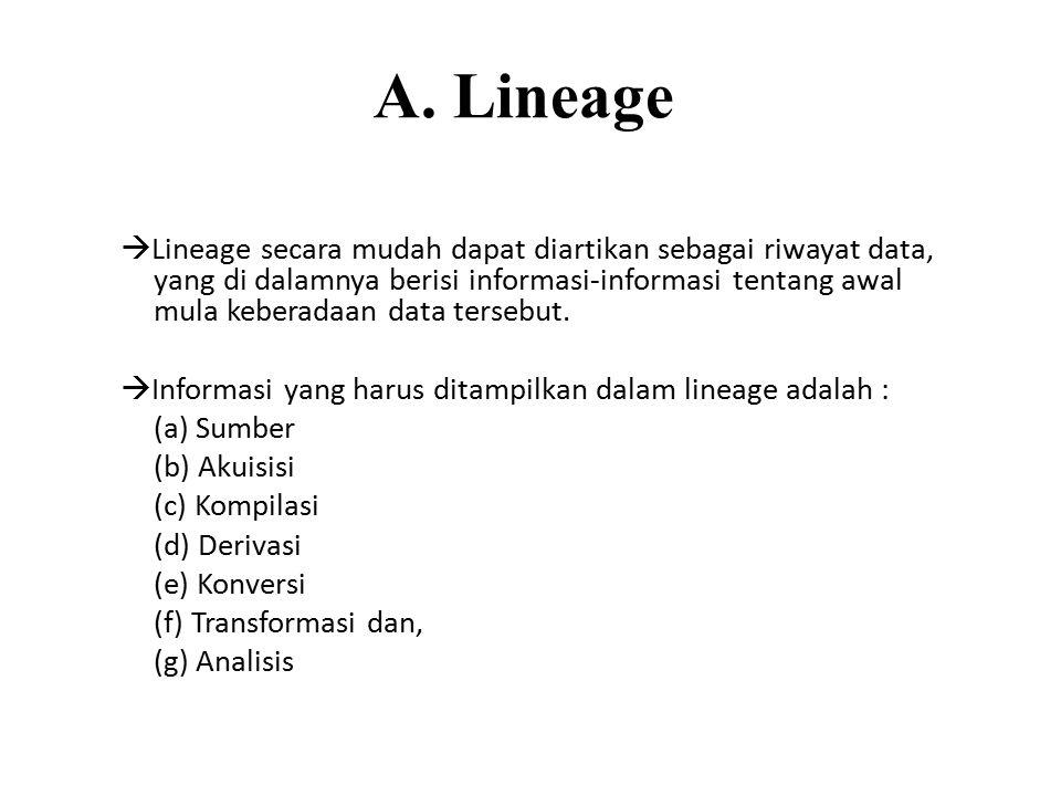 A. Lineage  Lineage secara mudah dapat diartikan sebagai riwayat data, yang di dalamnya berisi informasi-informasi tentang awal mula keberadaan data