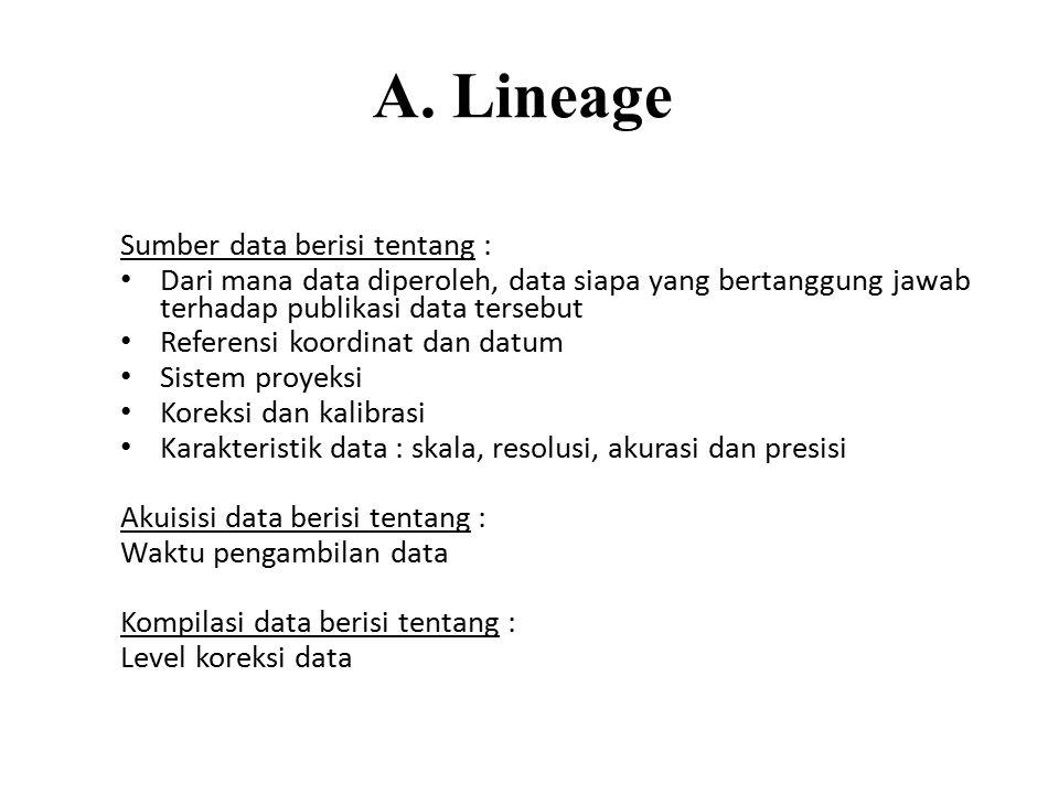 A. Lineage Sumber data berisi tentang : Dari mana data diperoleh, data siapa yang bertanggung jawab terhadap publikasi data tersebut Referensi koordin
