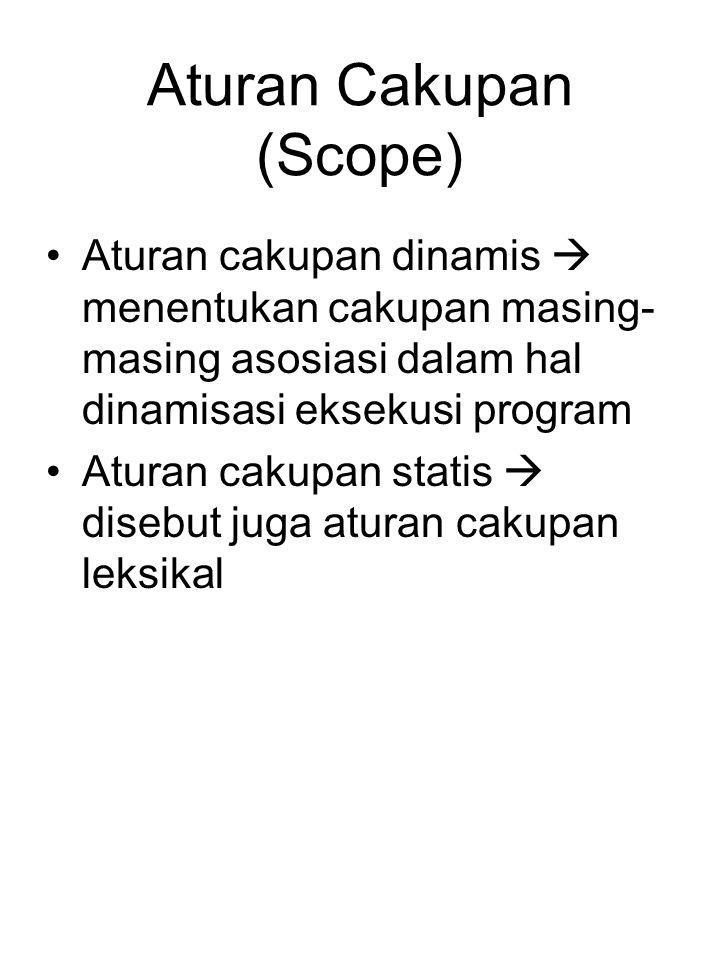 Aturan Cakupan (Scope) Aturan cakupan dinamis  menentukan cakupan masing- masing asosiasi dalam hal dinamisasi eksekusi program Aturan cakupan statis  disebut juga aturan cakupan leksikal