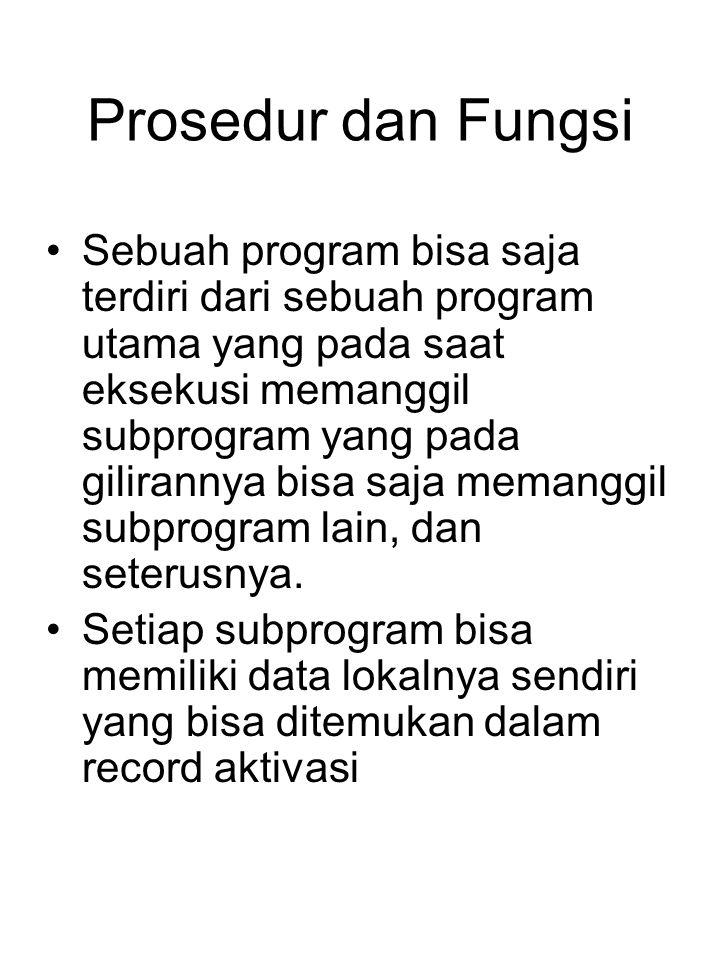 Prosedur dan Fungsi Sebuah program bisa saja terdiri dari sebuah program utama yang pada saat eksekusi memanggil subprogram yang pada gilirannya bisa saja memanggil subprogram lain, dan seterusnya.