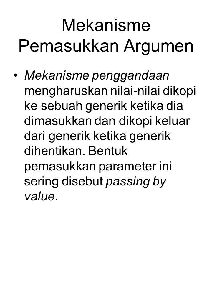 Mekanisme Pemasukkan Argumen Mekanisme penggandaan mengharuskan nilai-nilai dikopi ke sebuah generik ketika dia dimasukkan dan dikopi keluar dari generik ketika generik dihentikan.