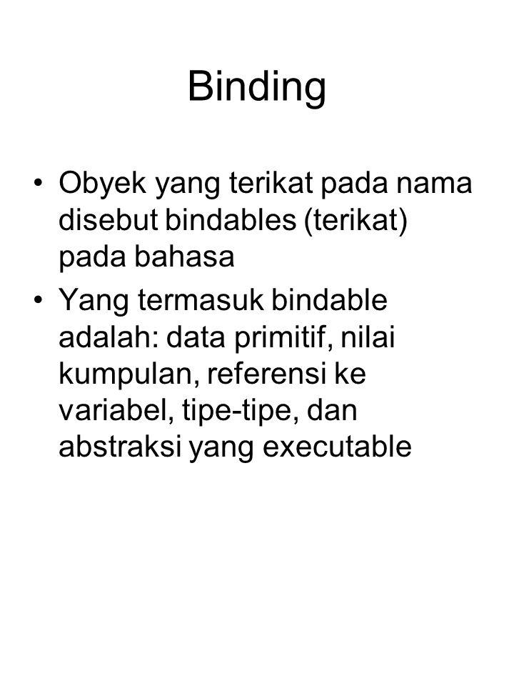 Binding Obyek yang terikat pada nama disebut bindables (terikat) pada bahasa Yang termasuk bindable adalah: data primitif, nilai kumpulan, referensi ke variabel, tipe-tipe, dan abstraksi yang executable