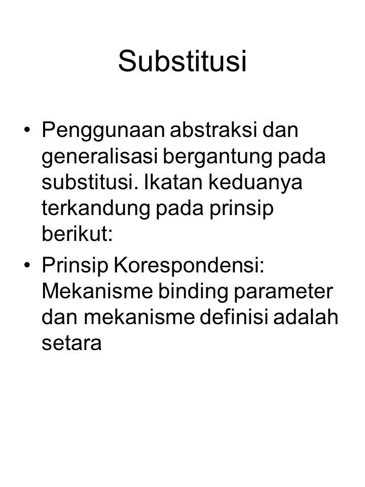 Substitusi Penggunaan abstraksi dan generalisasi bergantung pada substitusi. Ikatan keduanya terkandung pada prinsip berikut: Prinsip Korespondensi: M