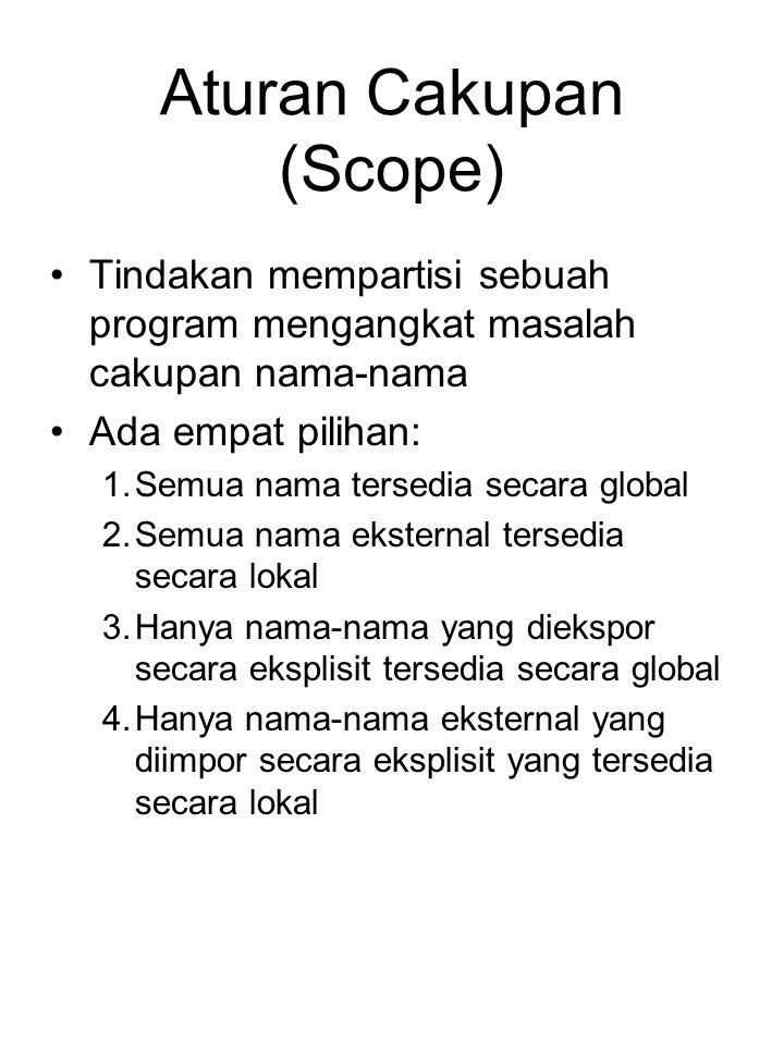 Aturan Cakupan (Scope) Tindakan mempartisi sebuah program mengangkat masalah cakupan nama-nama Ada empat pilihan: 1.Semua nama tersedia secara global