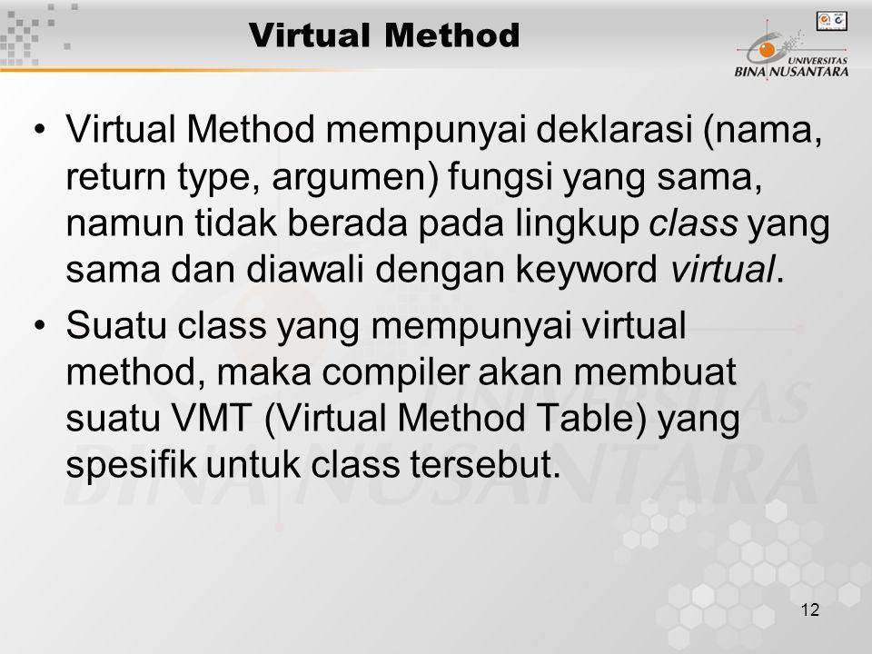 12 Virtual Method Virtual Method mempunyai deklarasi (nama, return type, argumen) fungsi yang sama, namun tidak berada pada lingkup class yang sama dan diawali dengan keyword virtual.