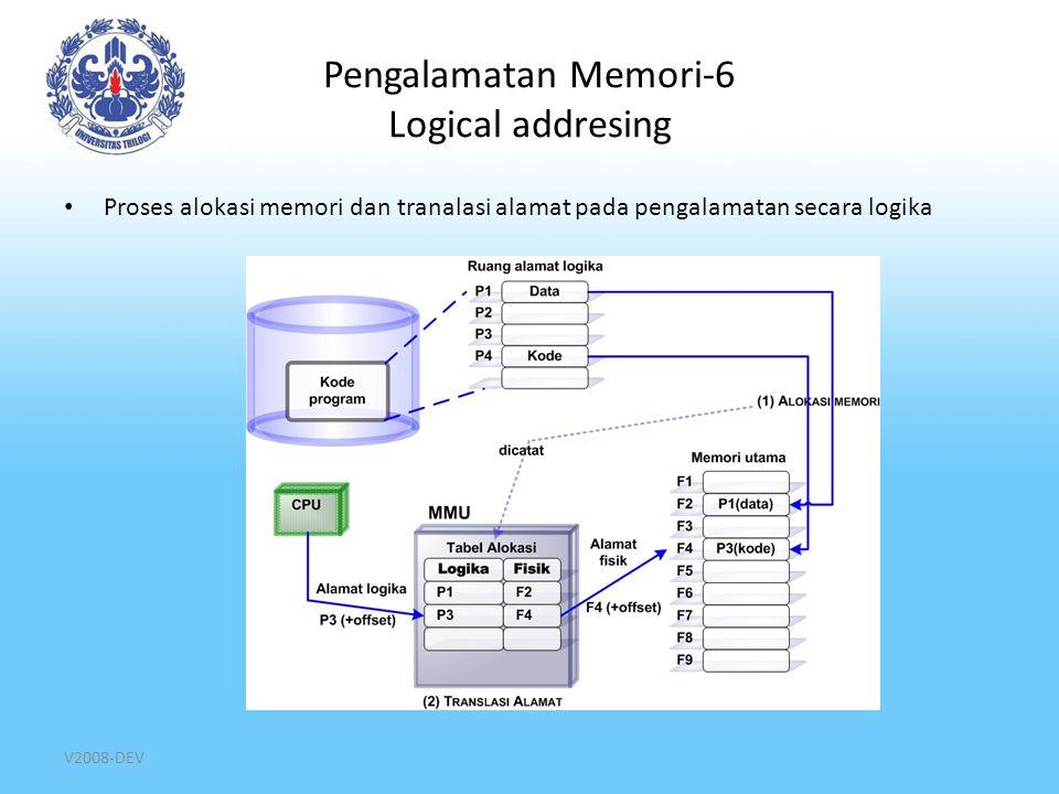 Pengalamatan Memori-7 Logical addresing Cara alokasi memori pada pengalamatan secara logika: – Paging membagi ruang alamat logika program dalam partisi statis yang berukuran sama  page – Segmentasi membagi ruang logika alamat logikaprogram dalam fragmen yang berukuran berbeda-beda dan pemartisian memori utama bersifat dinamis dengan ukuran yang bervariasi  segmen Hal ini mempengaruhi: Bagaimana memori utama di partisi dan dialokasikan ke aplikasi Informasi yang perlu dicatat di tabel alokasi proses saat terjadi alokasi memori Proses translasi alamat