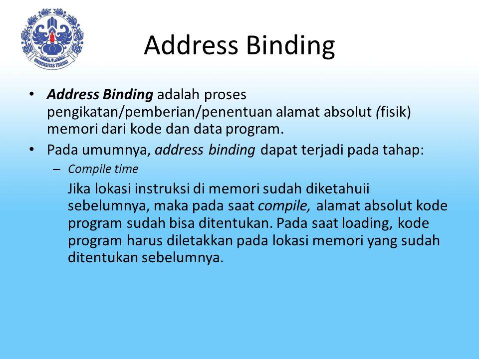 Address Binding-2 – Loading time Jika lokasi kode program di memori belum diketahui sebelumnya, maka pada saat compile time, alamat yang bisa direlokasi (mis alamat relatif) diberikan kepada kode program.