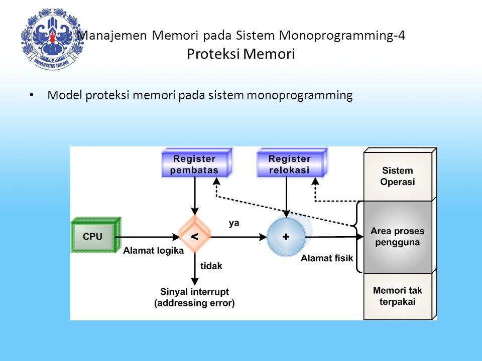 Manajemen Memori pada Sistem Multiprogramming Ciri-ciri manajemen memori pada sistem multiprogramming antara lain: – Ada sejumlah proses yang menempati memori pada setiap saat.