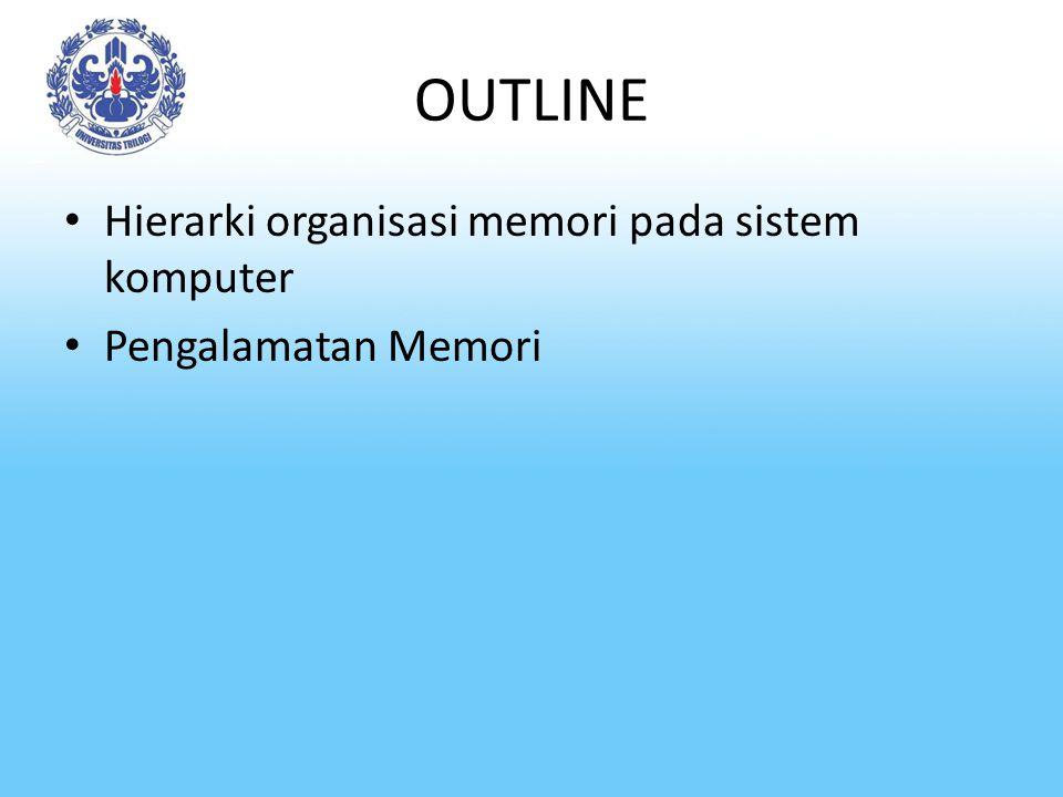 Hierarki Organisasi Memori Definisi: Memori adalah tempat penyimpanan kode program dan data di dalam suatu sistem komputer.