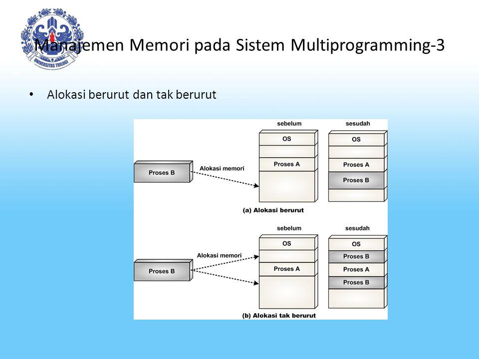 Manajemen Memori pada Sistem Multiprogramming Pengalokasian Berurut Dengan Partisi Statis Ciri-ciri alokasi berurut dengan partisi statis: – Memori dibagi menjadi partisi-partisi dengan ukuran yang tetap.