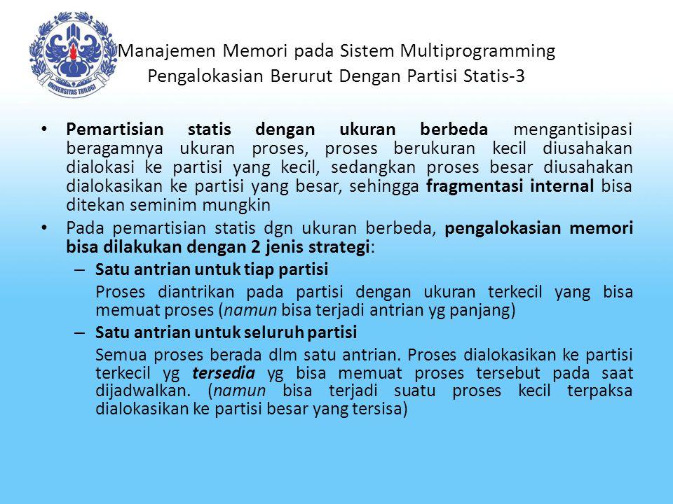 Manajemen Memori pada Sistem Multiprogramming Pengalokasian Berurut Dengan Partisi Statis-4 Alokasi berurut dengan partisi statis berukuran berbeda