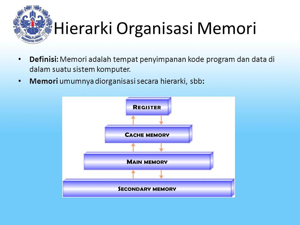 Hierarki Organisasi Memori-2 Dalam hierarki memori tsb, semakin kebawah: – Biaya per bit semakin rendah – Kapasitas penyimpanan semakin besar – Waktu Akses semakin besar – Frekuensi pengaksesan memori oleh prosesor semakin berkurang.