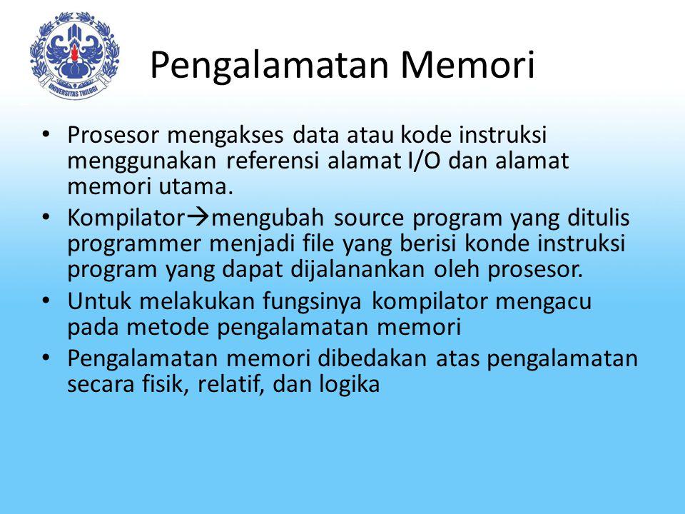 Pengalamatan Memori-2 Physical/absolute addresing Alamat yang ditulis pada kode instruksi program hasil kompilasi merupakan alamat fisik memori utama yang sesungguhnya.