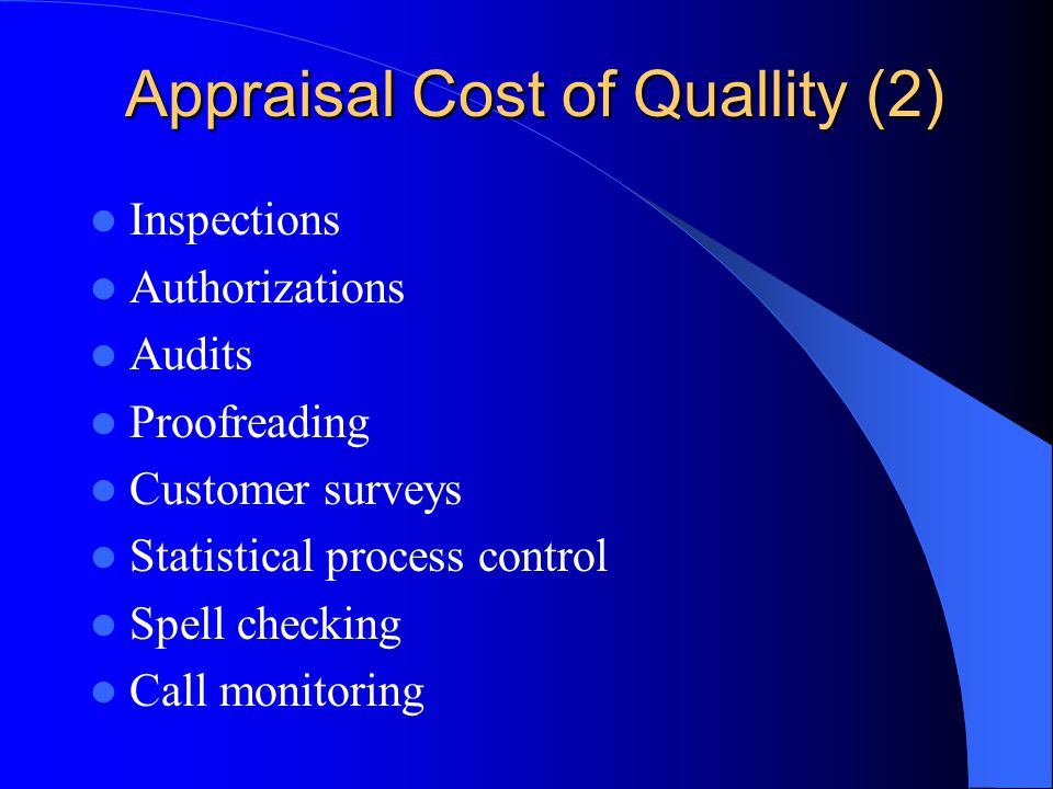 Appraisal Cost of Quallity (2) Inspections Authorizations Audits Proofreading Customer surveys Statistical process control Spell checking Call monitoring