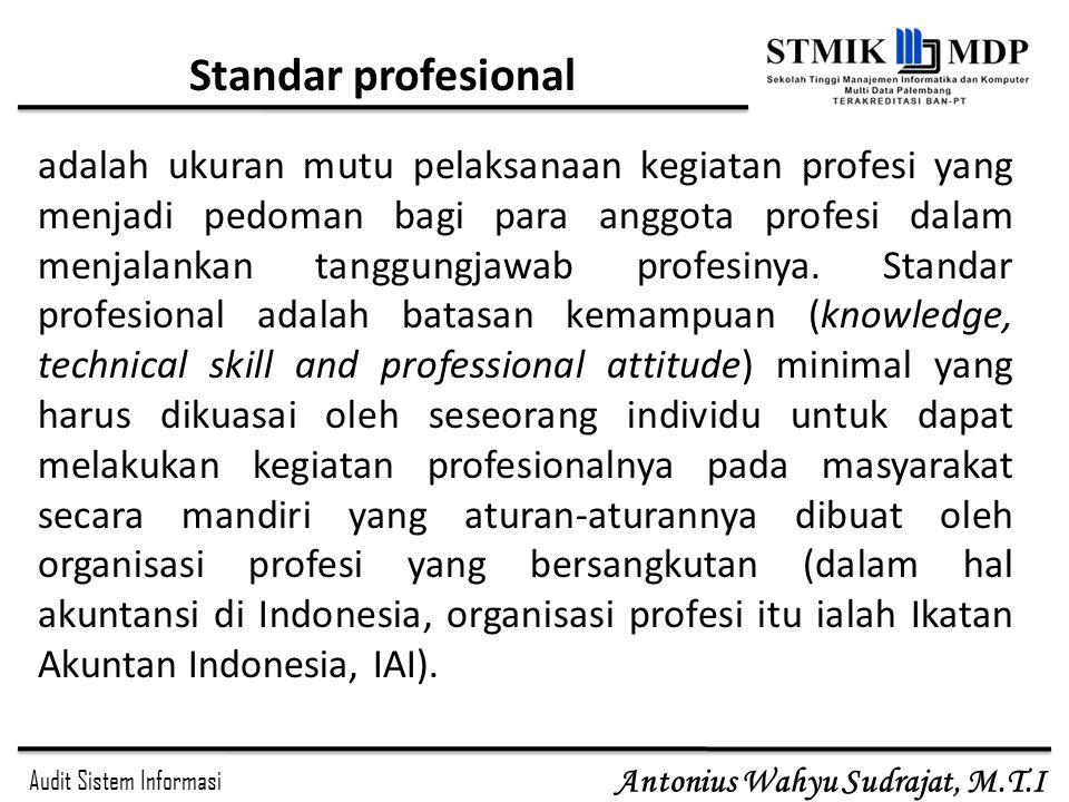 Audit Sistem Informasi Antonius Wahyu Sudrajat, M.T.I Standar profesional adalah ukuran mutu pelaksanaan kegiatan profesi yang menjadi pedoman bagi pa