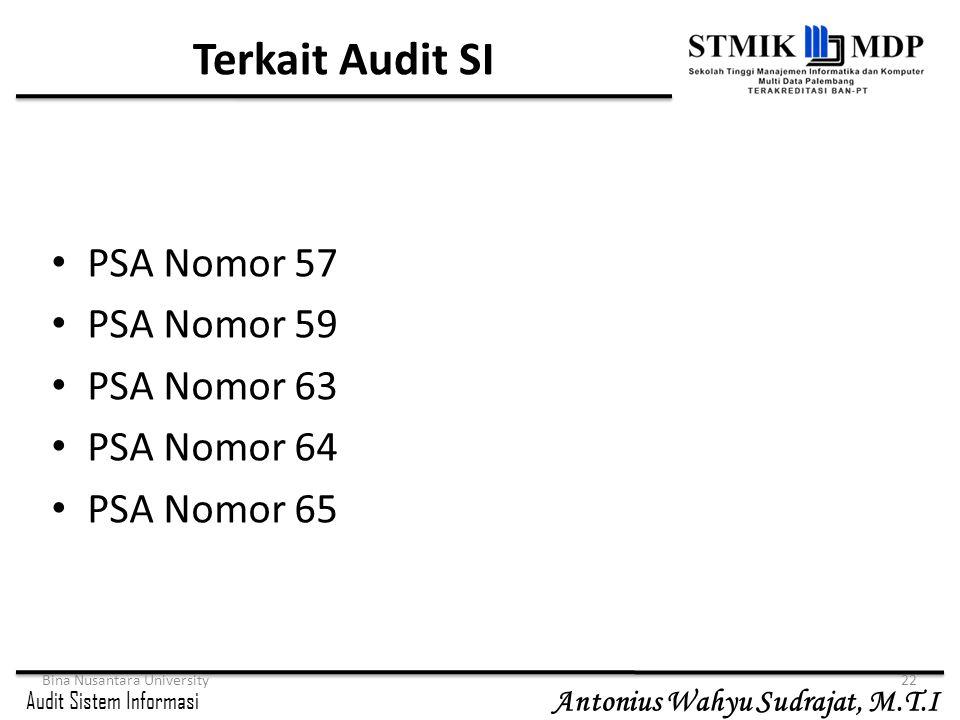 Audit Sistem Informasi Antonius Wahyu Sudrajat, M.T.I Bina Nusantara University22 Terkait Audit SI PSA Nomor 57 PSA Nomor 59 PSA Nomor 63 PSA Nomor 64