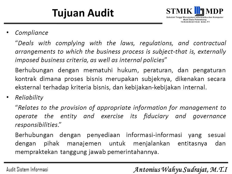 Audit Sistem Informasi Antonius Wahyu Sudrajat, M.T.I Bina Nusantara University26 The framework of ISACA Standards define mandatory requirements for IS auditing and reporting Guidelines provide guidance in applying IS Auditing Standards.