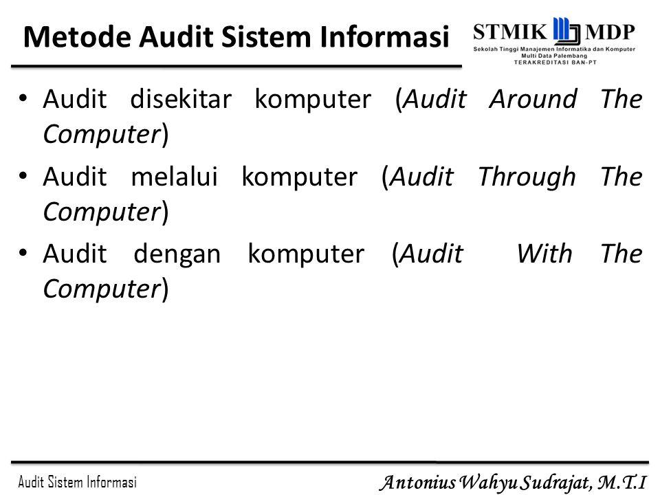Audit Sistem Informasi Antonius Wahyu Sudrajat, M.T.I Metode Audit Sistem Informasi Audit disekitar komputer (Audit Around The Computer) Audit melalui