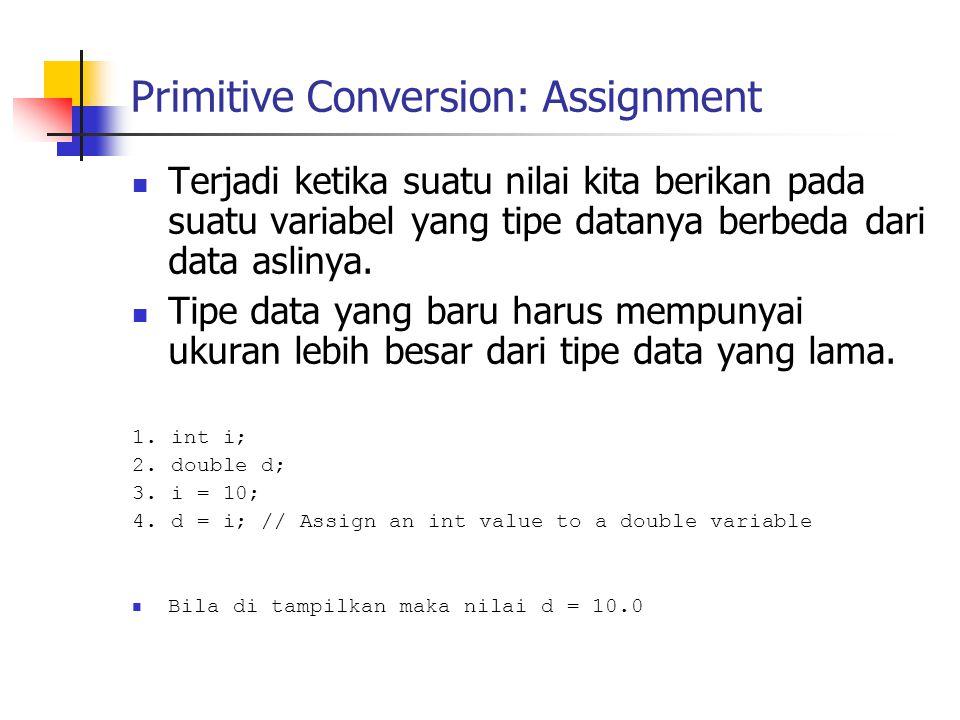 Primitive Conversion: Assignment Terjadi ketika suatu nilai kita berikan pada suatu variabel yang tipe datanya berbeda dari data aslinya.