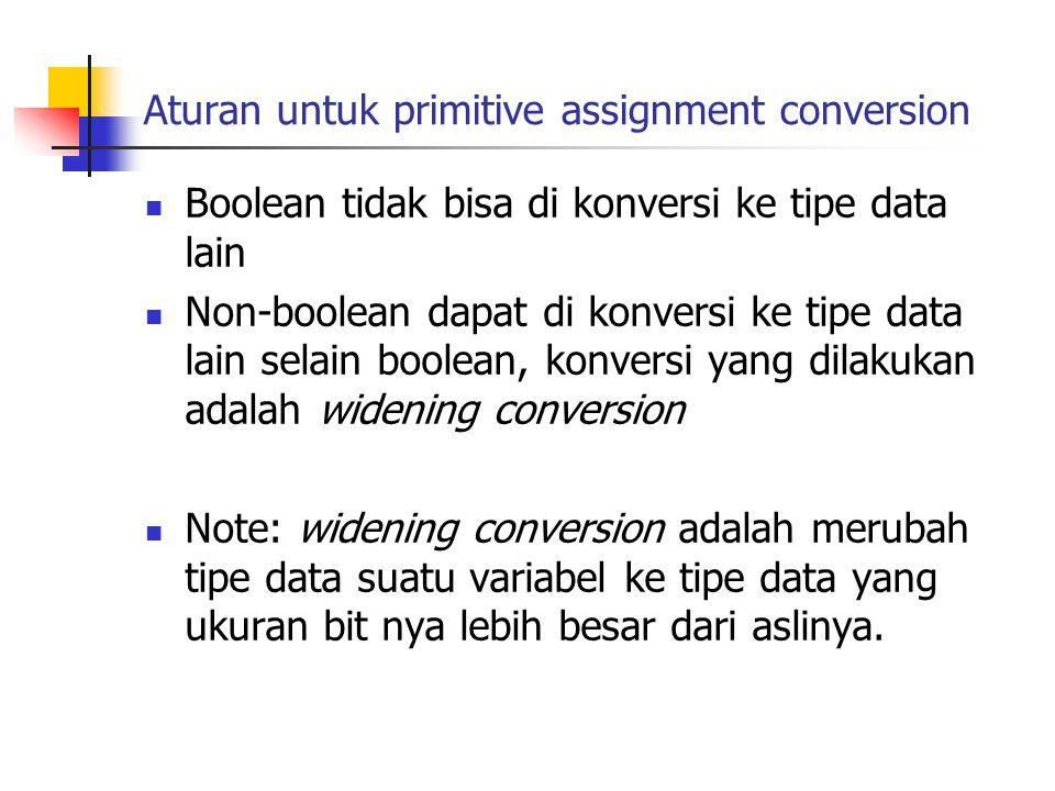 Aturan untuk primitive assignment conversion Boolean tidak bisa di konversi ke tipe data lain Non-boolean dapat di konversi ke tipe data lain selain boolean, konversi yang dilakukan adalah widening conversion Note: widening conversion adalah merubah tipe data suatu variabel ke tipe data yang ukuran bit nya lebih besar dari aslinya.