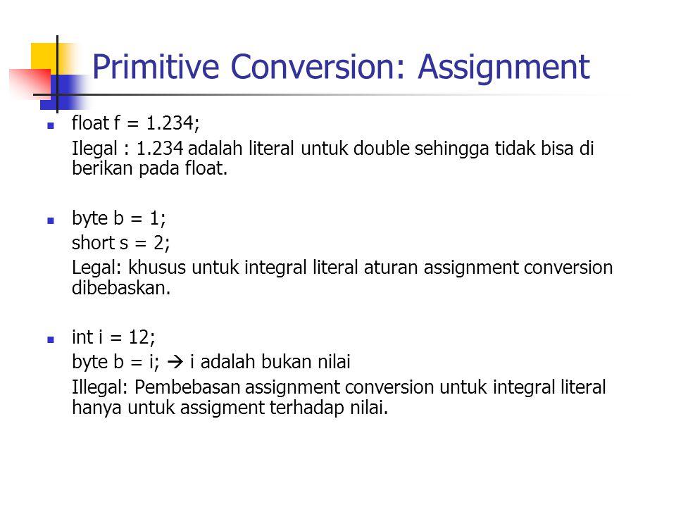 Primitive Conversion: Assignment float f = 1.234; Ilegal : 1.234 adalah literal untuk double sehingga tidak bisa di berikan pada float.