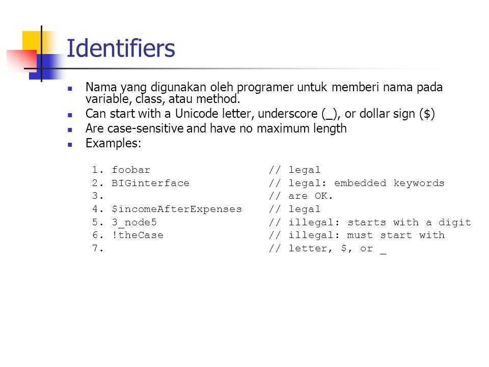 Identifiers Nama yang digunakan oleh programer untuk memberi nama pada variable, class, atau method.