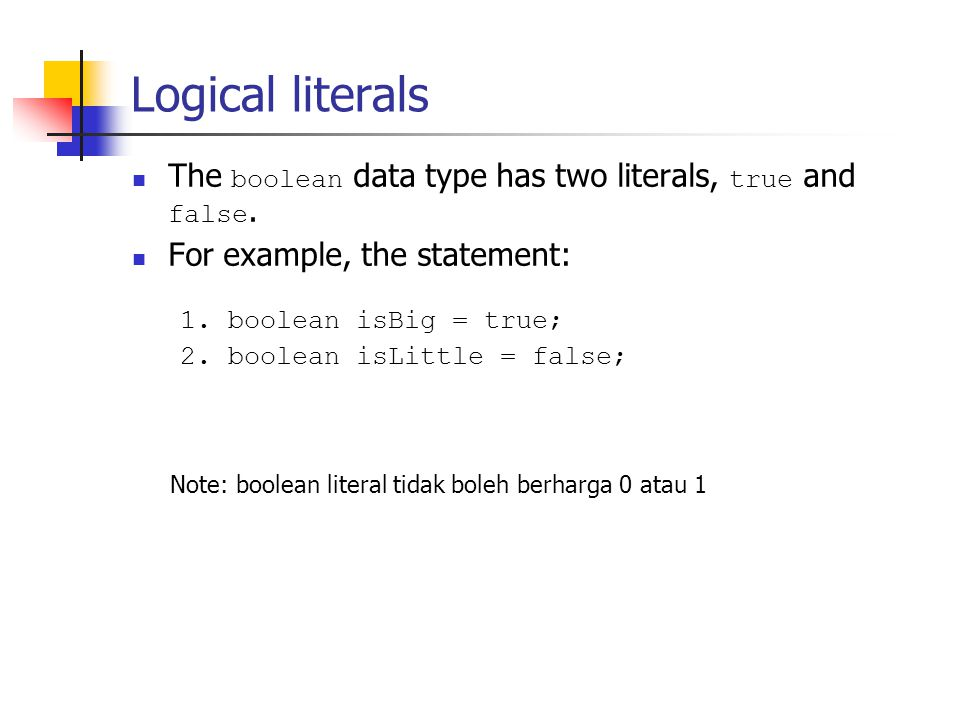 Textual Literals The range: 0 ~ 2 16 - 1.